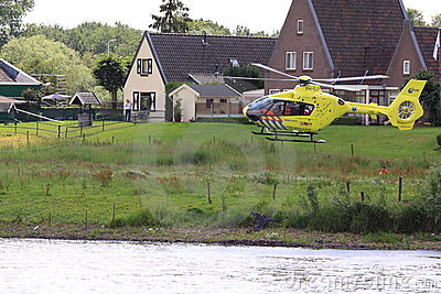 Trauma helicopter landing Editorial Stock Photo