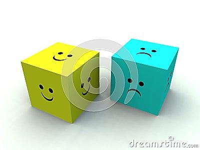 Trauriger und glücklicher Würfel