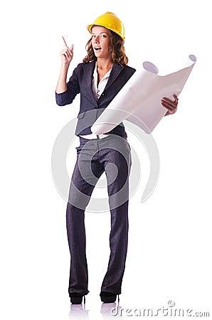 Travailleur de la construction de femme avec le casque antichoc