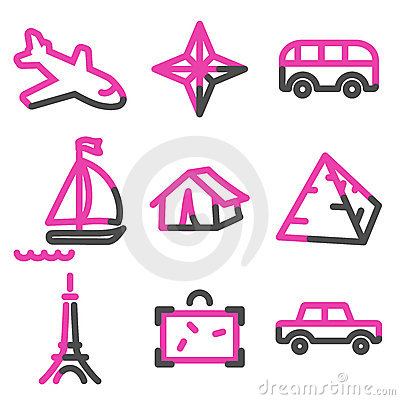 Travel 2 web icons, pink contour series