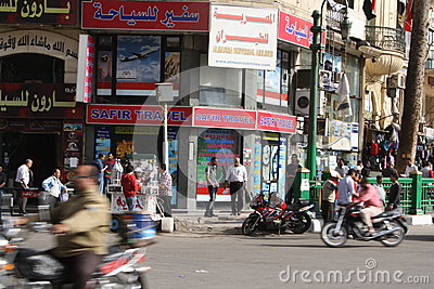 Travel agencies in downtown tahrir, Cairo Egypt Editorial Photo