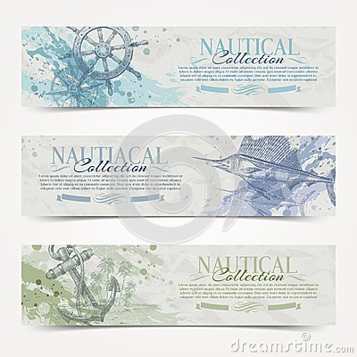 Free Travel And Nautical Vintage Banners Stock Photo - 33124310