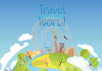 Travel around the world concept blue background Mexico Singapore Vector Illustration