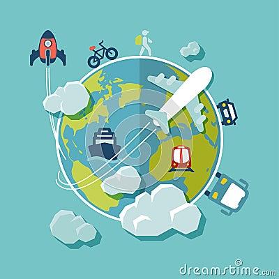 Travel around the world flat design