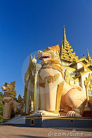 Giant lions at Shwedagon pagoda