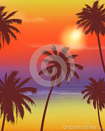 Free Travel Backgrounds With Palm Trees. Exotic Landscape. Vector Royalty Free Stock Photo - 78189615
