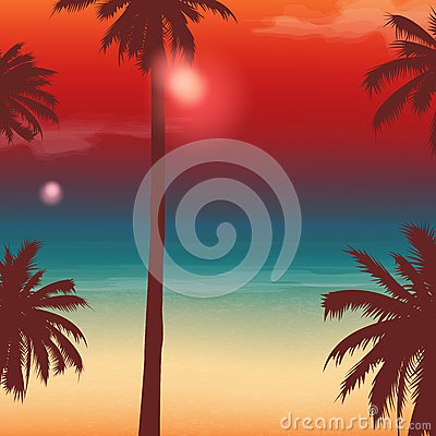Free Travel Backgrounds With Palm Trees. Exotic Landscape. Vector Royalty Free Stock Image - 78189756