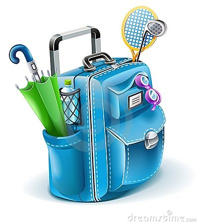 Travel bag with objects for entertainment