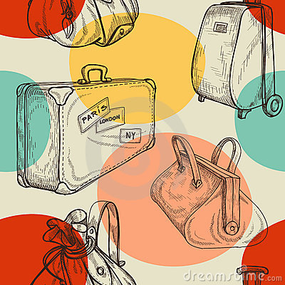 Free Travel Bags Seamless Pattern Royalty Free Stock Images - 23117669