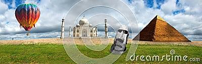 Travel Banner Panorama Panoramic Taj Mahal, Pyramids