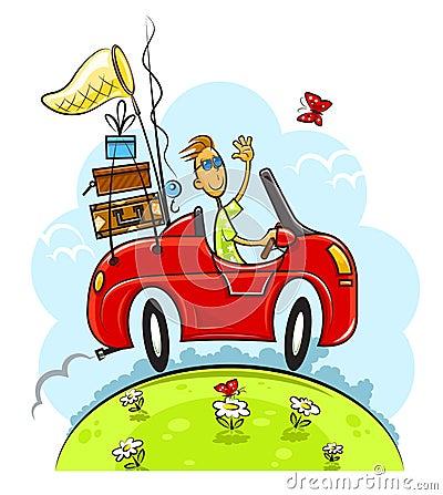 Travel boy drive car