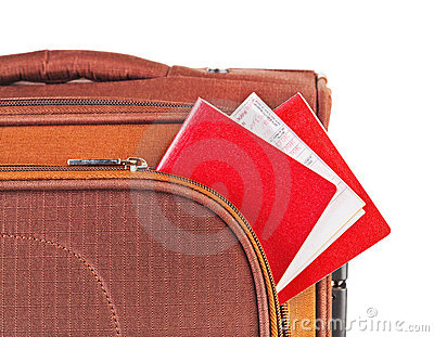 Travel case, passport and ticket