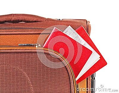 Travel case, passport and ticket
