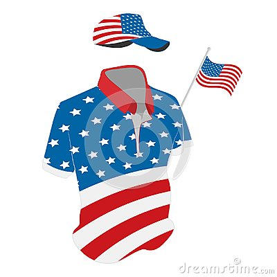 Free Travel Clothes Set: T-shirt, Baseball Cap And Shorts In USA Flag Colors. Vector Drawing Illustration Royalty Free Stock Photo - 119485305