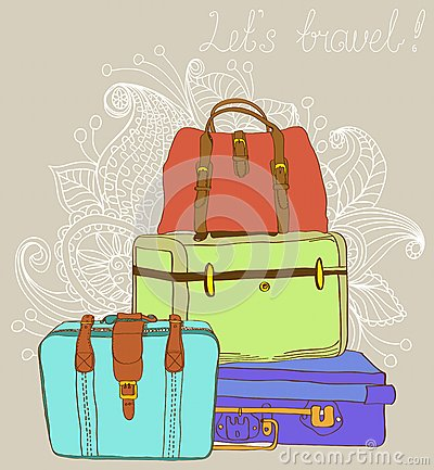 Travel color Suitcases Background