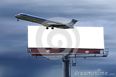 Travel concept with blank roadside billboard