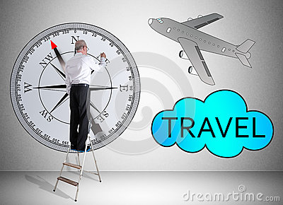 Travel concept drawn by a man on a ladder Stock Photo