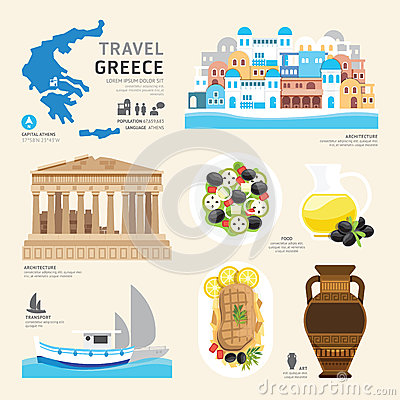 Free Travel Concept Greece Landmark Flat Icons Design . Vector Royalty Free Stock Images - 44970099