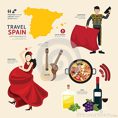 Free Travel Concept Spain Landmark Flat Icons Design . Vector . Stock Images - 49327094