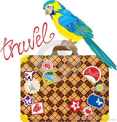 Travel concept - Suitcase with journey stickers an