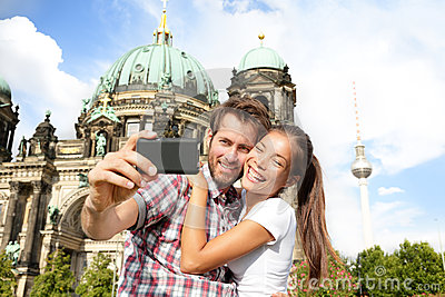 Travel couple selife self portrait, Berlin Germany