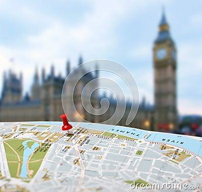 Free Travel Destination London Map Push Pin Blur Stock Images - 28571324