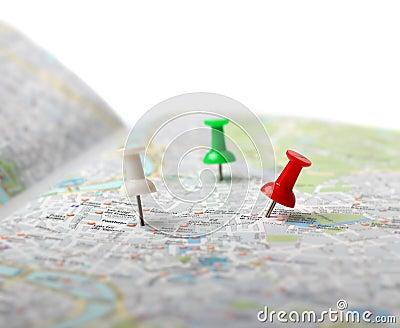 Travel destination map push pins