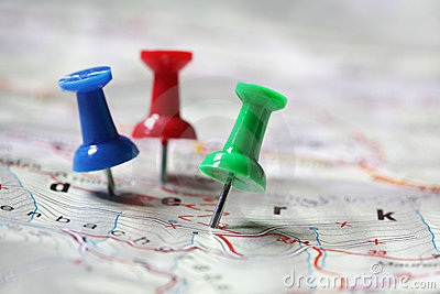 Travel destination marked with pushpins