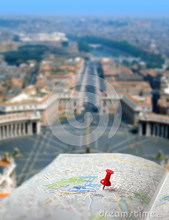 Travel destination Rome map push pin blur