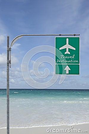 Travel destination signboard sky and sea back