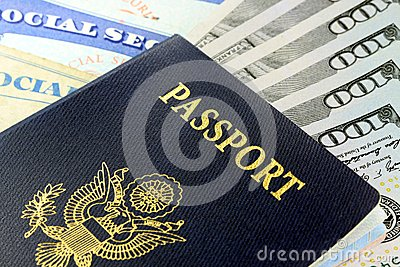 Travel Documents - USA Passport with American Currency