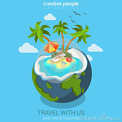 Free Travel Flat Isometric Concept For Beach Island In The Coconut Stock Photo - 51460190