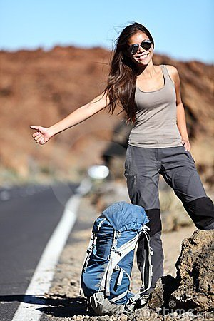 Free Travel Hitchhiker Woman Happy Royalty Free Stock Image - 24164006