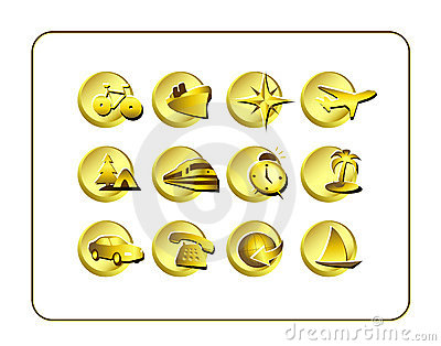 Travel Icon Set: Golden
