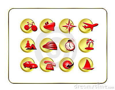 Travel Icon Set: Golden-Red