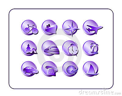 Travel Icon Set, Purple