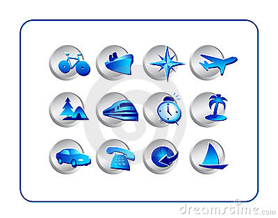 Travel Icon Set: Silver-Blue