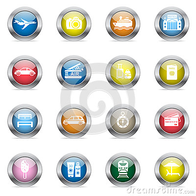 Travel icons in color glossy circles