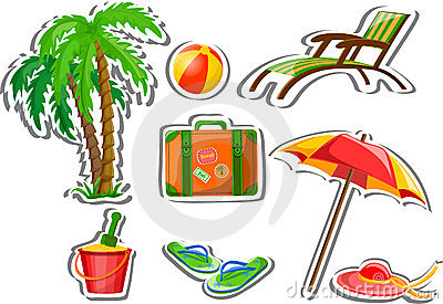 Travel icons, palm, ball, lounge,vector