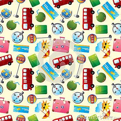 Travel icons seamless pattern