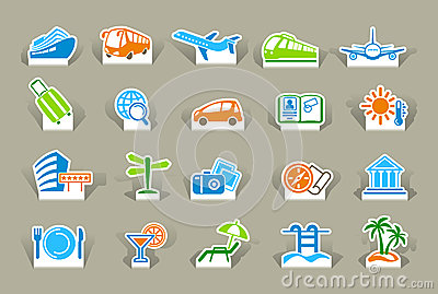 Travel icons on stickers