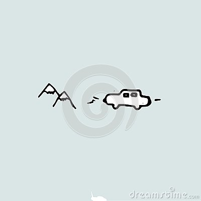 Free Travel Idea, Car Picture And Mountains, Hand Drawn Template. Stock Photo - 123320670