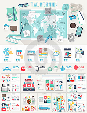 Free Travel Infographic Set Stock Images - 52835524
