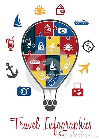 Travel infographics with a hot air balloon