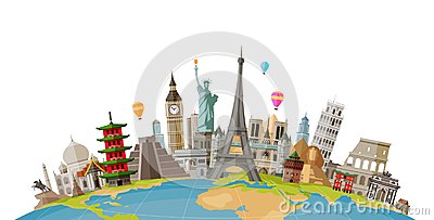 Travel, journey concept. Famous monuments of world countries. Vector illustration Vector Illustration