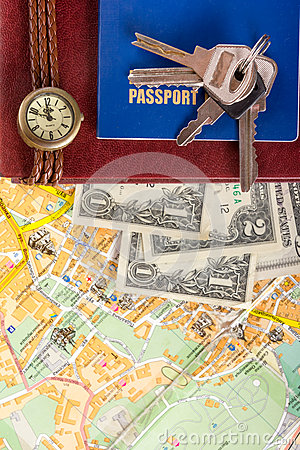 Free Travel Journey Trip Consept, Sights Destination Marked By Pin On The Map. Copy Space Royalty Free Stock Photography - 68285027