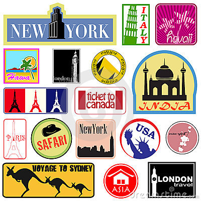 Free Travel Label Set Royalty Free Stock Photography - 7493497