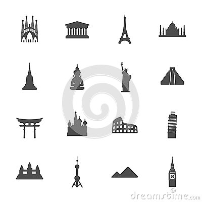 Free Travel Landmarks Icon Set Stock Images - 37357914