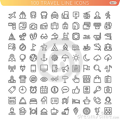 Free Travel Line Icons Royalty Free Stock Images - 43027789