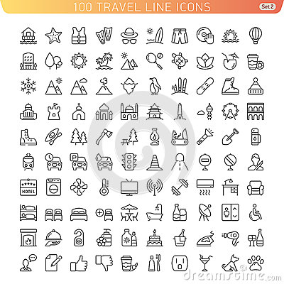 Free Travel Line Icons For Web And Mobile. Stock Photo - 45515770